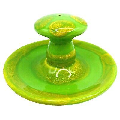 Vintage Ceramic Mushroom Incense Burner Green Yellow Round Japan Retro 4x2.5