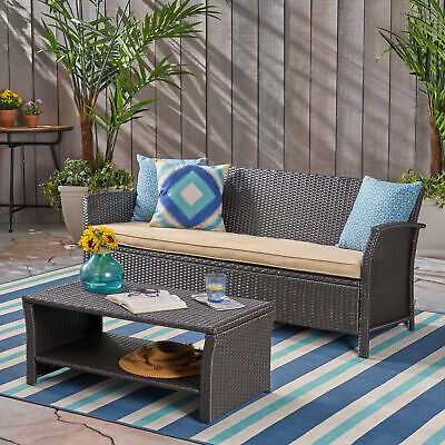 Laiah Outdoor Wicker 3-Seater Sofa with Coffee Table Outdoor Wicker 3 Seater Sofa