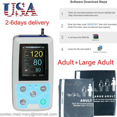 CONTEC Digital Ambulatory Blood Pressure Monitor Upper Arm 2pcs BP Cuff ABPM50