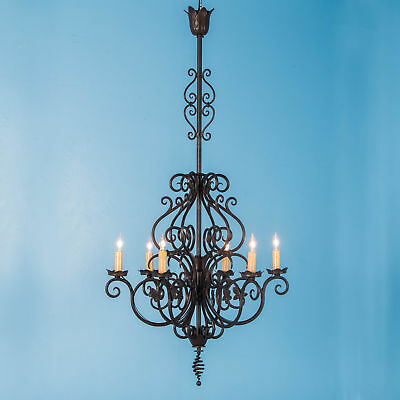Wrought Iron Six Light Chandelier - Antique French Six Light Wrought Iron Chandelier