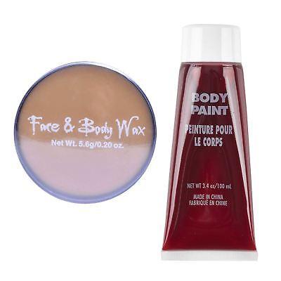 Halloween SFX Makeup Kit Bundle Wax Fake Blood Accessory Skin Gory Open Wound BN