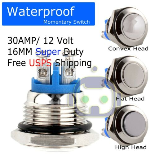 30A METAL HEAD HORN PUSH MOMENTARY WATERPROOF SWITCH 12V16mm 5/8 STARTER BUTTON