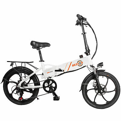 "BEZIOR 350W 20"" Folding Bike Electric Bicycle Moped E-Bike 10.4A 35km/H 7 Speed"