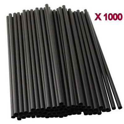 1000pc Black Drinking Straw Plastic Disposable Party Straws Straight Tableware