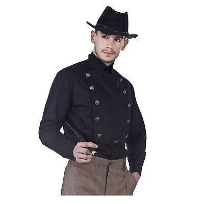Steampunk Man Costume (Men's Victorian Steampunk Airship Captain Black Costume Shirt Bib Front)
