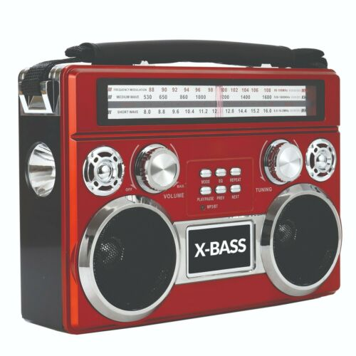 Supersonic SC-1097BT Retro AM/FM/SW 3-Band Portable Radio +Bluetooth+Flash Light