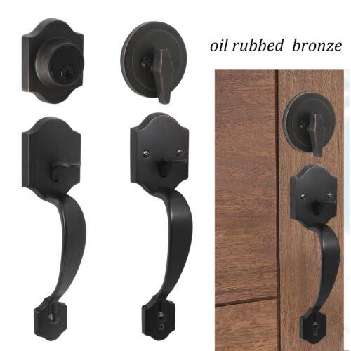 Exterior Front Entry Door Handle Lock set 2sides Oil Rubbed Bronze Deadbolt 3key