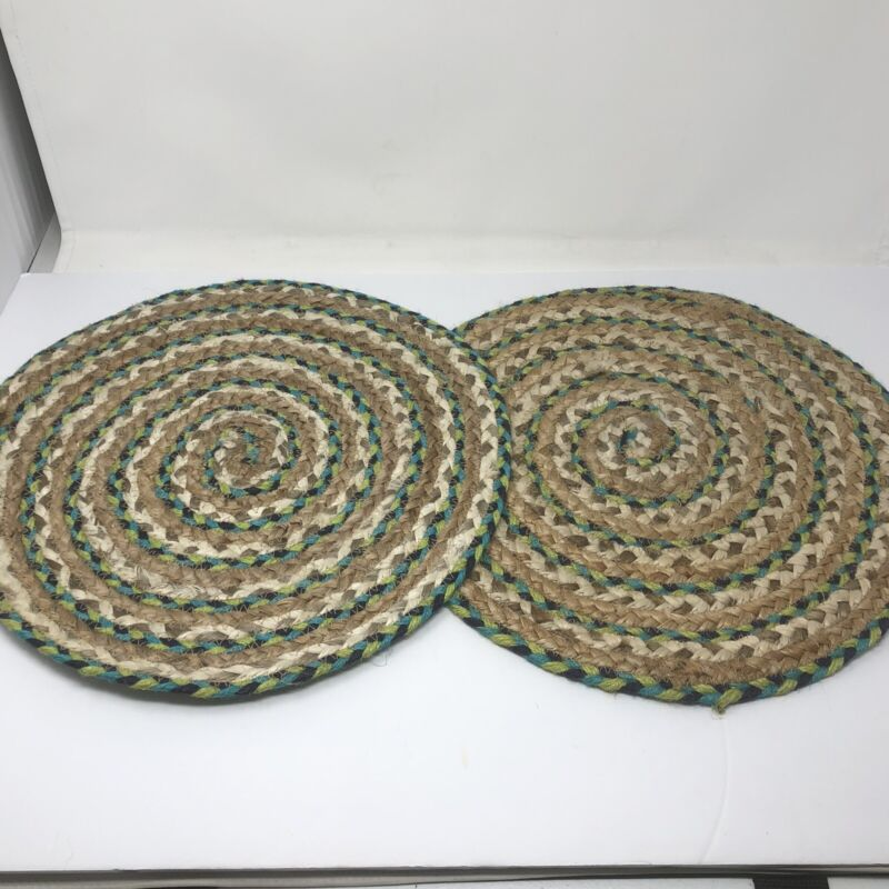 """2 Vtg Hand Woven Green Braided Rag Rug Chair Round Seat Cushions 15"""" Placemats"""