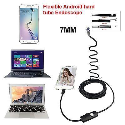 7mm Flexible Android hard tube USB Endoscope Snake Borescope Inspection Camera !