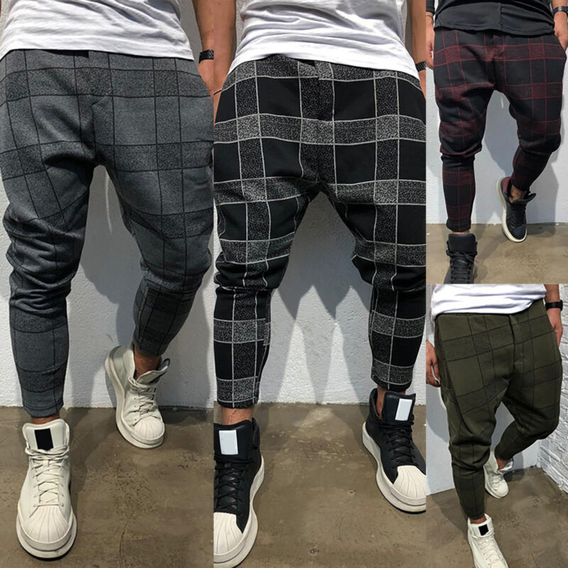 Mens Plaid Casual Trousers Joggers Jogging Skinny Long Botto