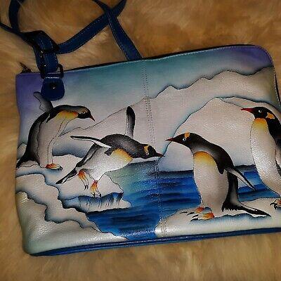 Anuschka Leather Two-Sided Zip Travel Organizer Handbag Anna-  Arctic Emperors