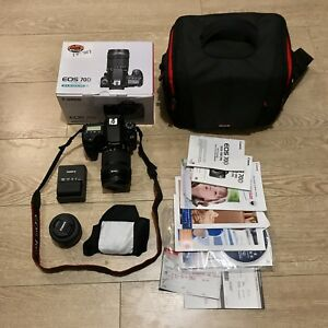 Canon SLR EOS 70D with 2 lenses and accessories