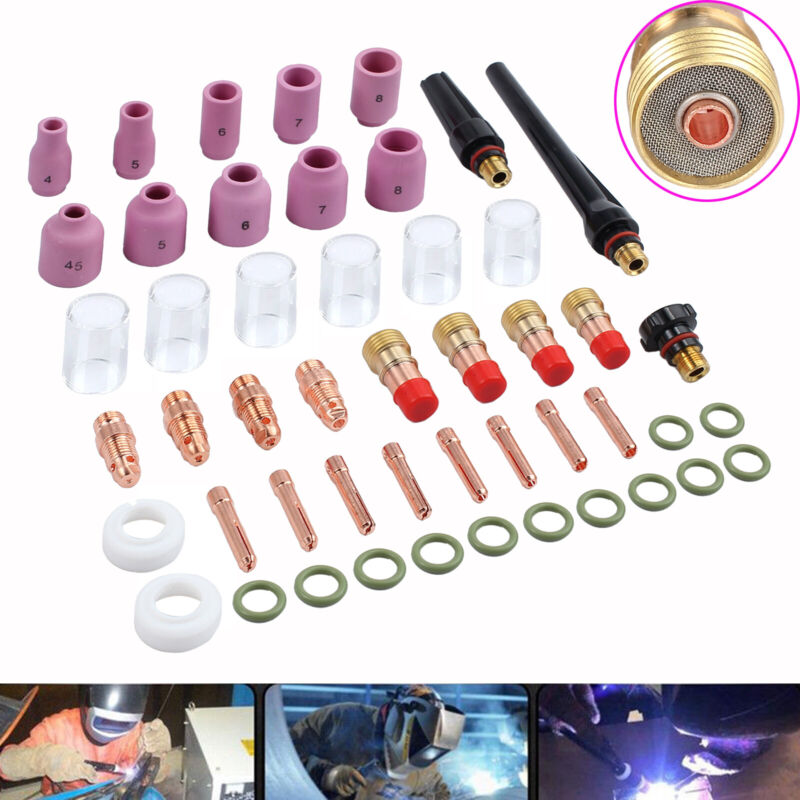 For WP-17/18/26 49PCS TIG Welding Torch Stubby Gas Lens #10 Pyrex Glass Cup Kit