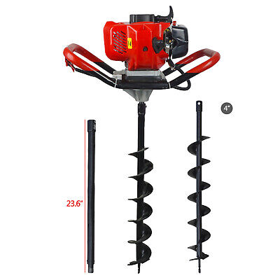 52cc Post Hole Digger Gas Powered Earth Auger Borer Machine W Auger Drill Ext