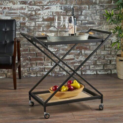 Sheri Modern Tempered Glass Black Iron Bar Cart Bar Carts & Serving Carts