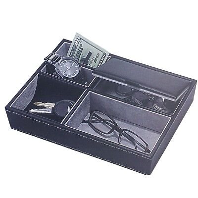Buxton Valet Tray Organize Store Charge Felt Lined Men's Storage Keys Watch Gift