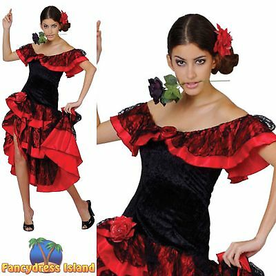 Spanish Dancer Fancy Dress (Spanish Senorita Flamenco Dancer Salsa Rumba Doll Womens Fancy Dress)