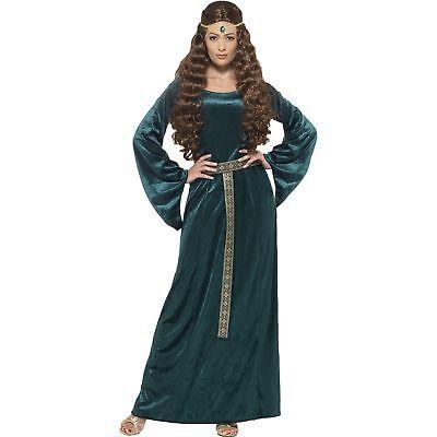Medieval Maid Marion Robin Hood Maiden Green Womens Ladies Fancy Dress - Women Robin Hood Costume