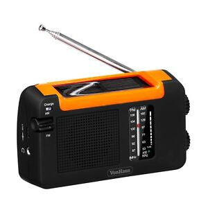 VonHaus Wind Up Solar Radio with Rechargeable Battery