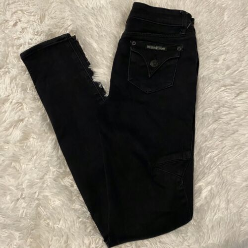 "Hudson Youth Size 16 Black Denim Jeans With Front Zipper Pockets 29"" Inseam EUC"