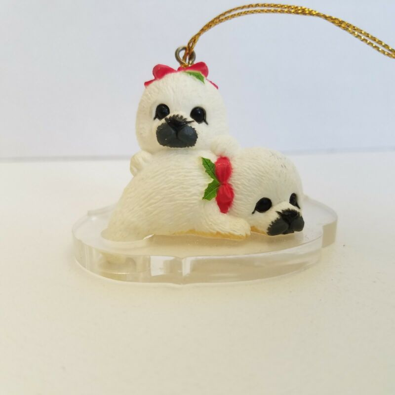 1993 White Seal Pups Christmas Ornament Endangered Young