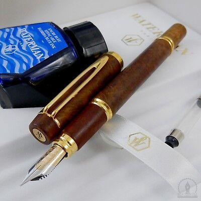 NOS Waterman MAN 100 Briar Wood GT Fountain Pen * 18K Fine Nib