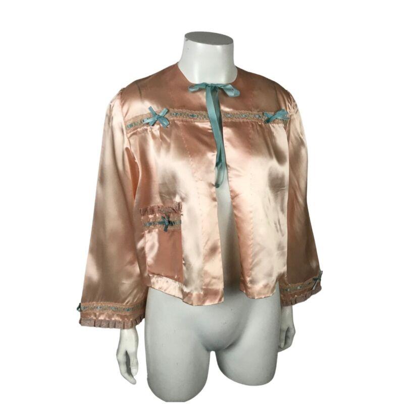 1940s Bed Jacket / Peach Open Front Nightie Cropped Top Loungewear / Large
