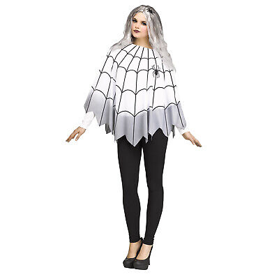 Adult Womens Vampire Spider Web White Gothic Poncho Cape Easy Halloween Costume - Easy Woman Halloween Costumes