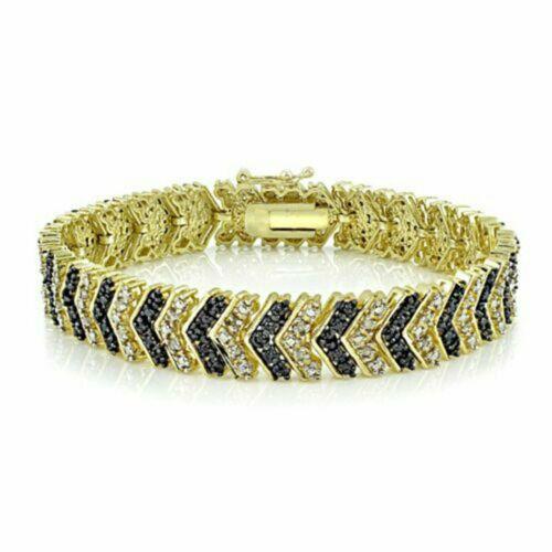 "1.50 CT Round Diamond & Sapphire Yellow Gold Finish 7"" Chevron Tennis Bracelet"