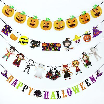 Halloween Hanging Garland Banners Spider Web Pumpkinl,Color Letter,Swallowtail