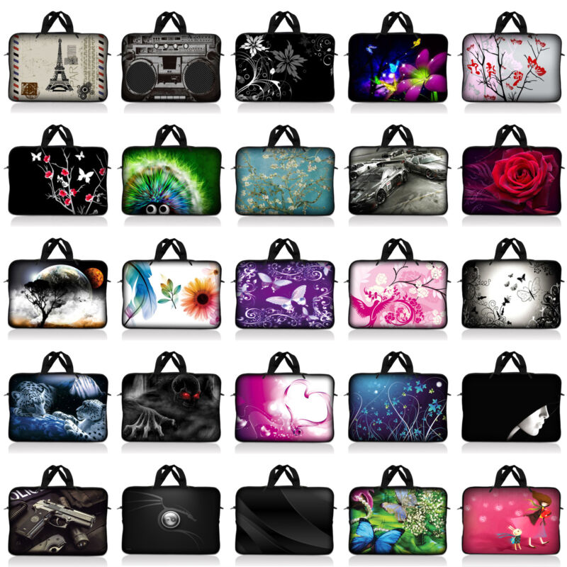 Neoprene Sleeve Laptop Computer Case Bag w/ Handle Fit 10 inch to 17.4 inch