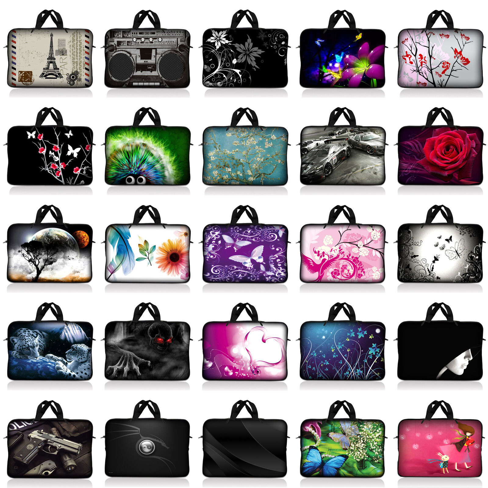 Neoprene Sleeve Laptop Computer Case Bag w/ Handle Fit 10 in