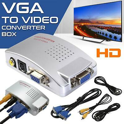 VGA to RCA Switch Box, PC to TV AV Monitor Composite S Video Converter Adapter