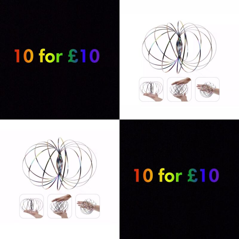 3D+MAGIC+FLOW+RING+TOYS+FUNNY+KINETIC+SPRING+ARM+SLINKY+JUGGLE+RAINBOW+BUBBLE