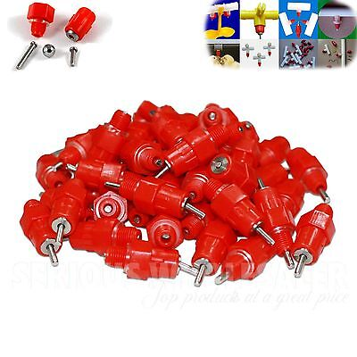- NEW 50 Pack Chicken Nipple Drinkers Waterer Poultry Feeder 360 degree Screw In