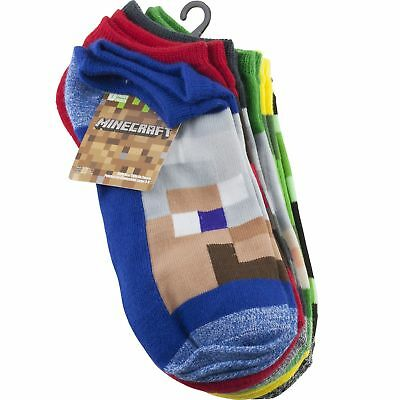 Minecraft Youth Boys No Show Socks Sz 3-9 Large 5 Pair Multi Color