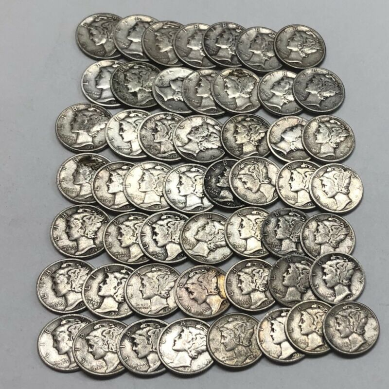 MERCURY DIME ROLL 50 COINS 90% SILVER MIXED DATES 30