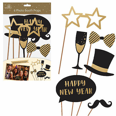 Pack of 6 New Years Eve Party Fun Photo Booth Posing Props Selfie Fun