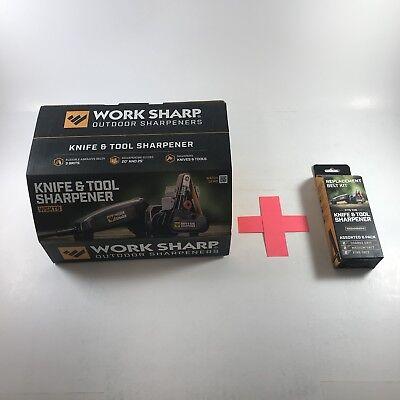 WORK SHARP WSKTS Knife and tool sharpener, WorkSharp Plus 6 Free Asst Belts.