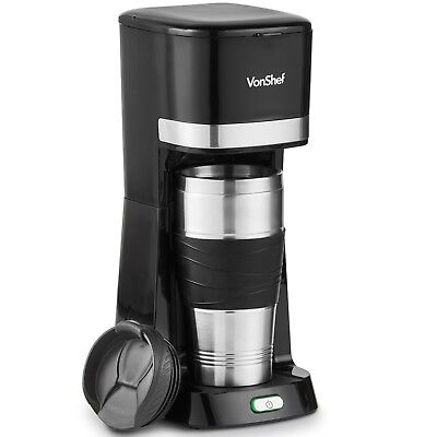 VonShef One Cup Offensive Coffee Maker Single Serve Black  14oz 650W