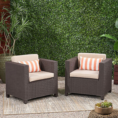 Riley Outdoor Wicker Print Club Chair with Cushions (Set of -