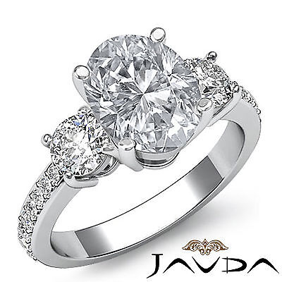 3 Stone Pave Setting Oval Cut Diamond Engagement Ring GIA Certified I VS2 1.4Ct