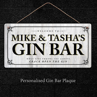 Personalised Bar Sign | Hanging Metal Gin Plaque Gifts, Bar, Kitchen, Vodka Bar