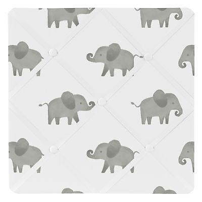 Grey White Watercolor Elephant Safari Fabric Memory Memo Photo Bulletin Board