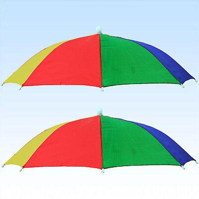 2 Regenschirm & Sonnenschirm für den Kopf Blau Gelb Grün Rot  Kopfschirme Schirm