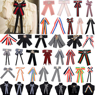 Women Ladies Shirt Bow Tie Necktie Striped Ribbon Pendant Collar Tie Brooch Striped Bow Tie