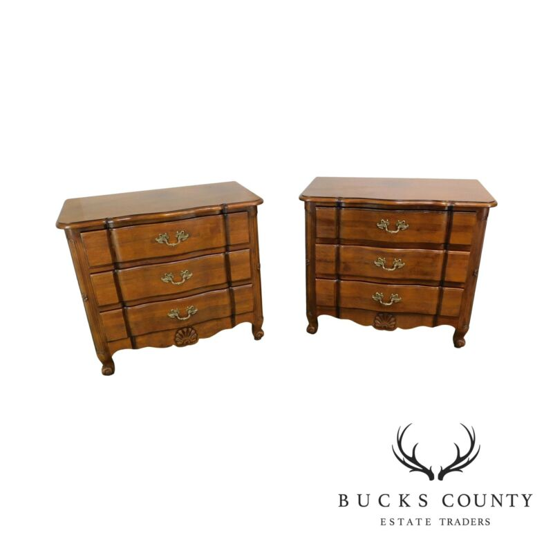 Wellington Hall French Country Pair 3 Drawer Chests Nightstands