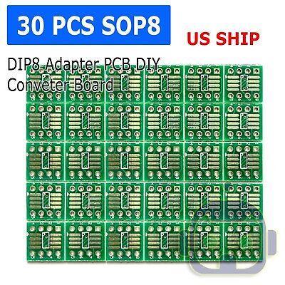 30pcs Sop8 So8 Soic8 Tssop8 Msop8 To Dip8 Adapter Pcb Diy Conveter Board New N65