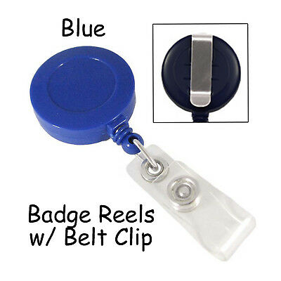 5 Id Badge Reels Lanyards - Blue - Retractable With Belt Clip Plastic Strap