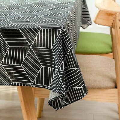 Cotton Linen Customized Vintage Style Tablecloth Cover Table Deco Black Geometry - Customized Tablecloth